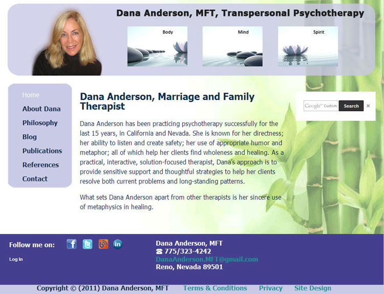 Dana Anderson, MFT website by SLA Systems