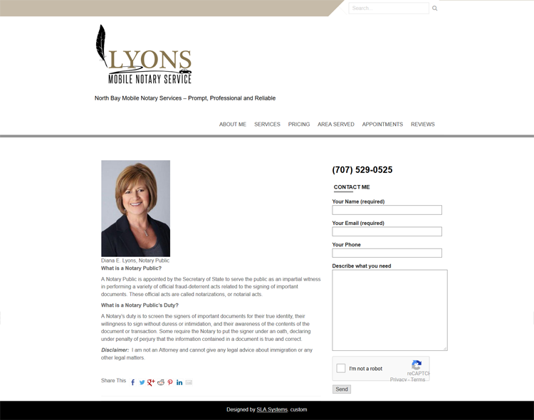 Lyons Notary Service Website by SLA Systems