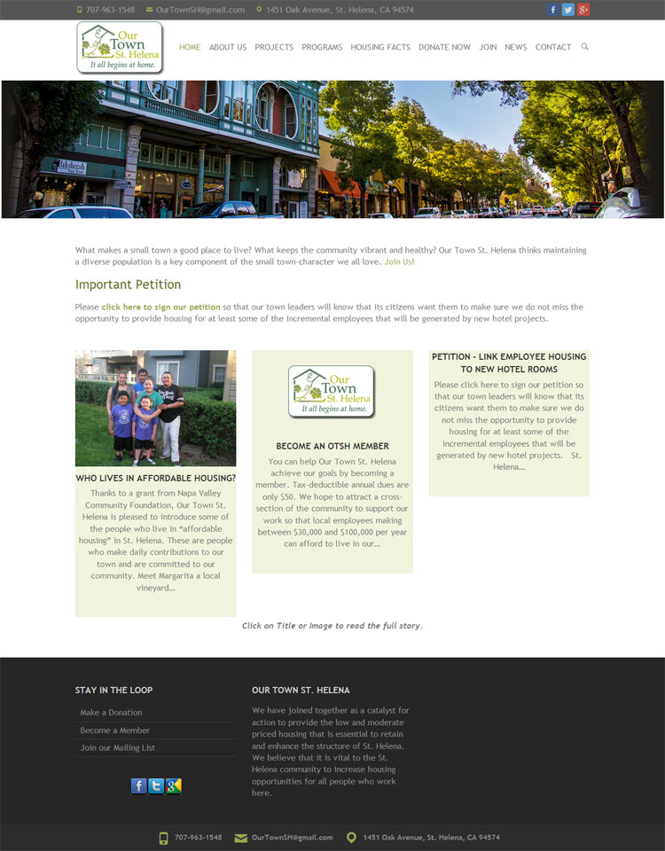 Our Town St Helena website by SLA Systems