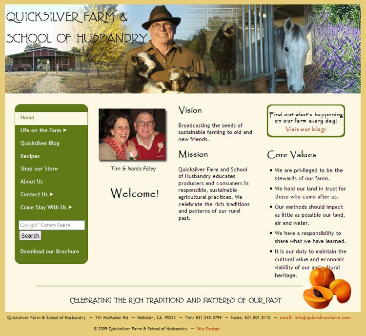 Quicksliver Farm & School of Husbandry website by SLA Systems