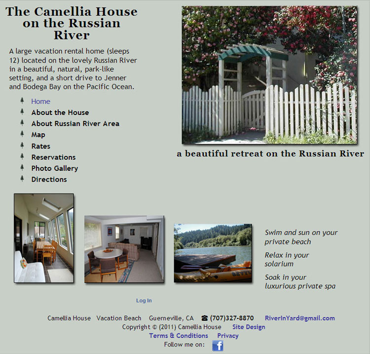 Russian River Camellia House website by SLA Systems