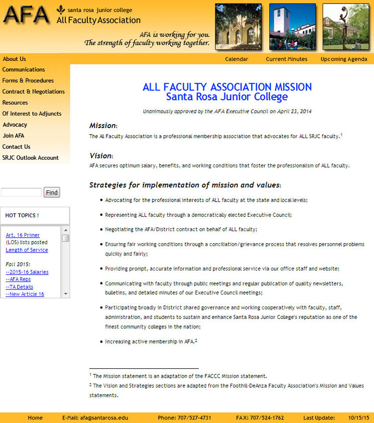 Santa Rosa JC AFA website by SLA Systems