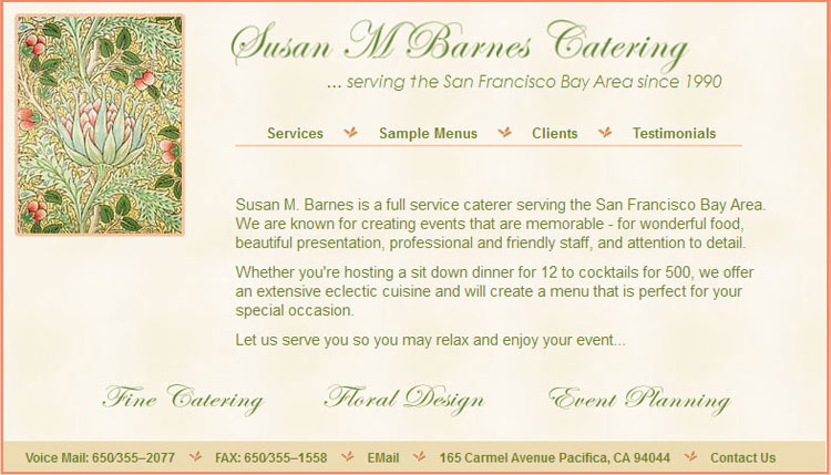 Susan M Barnes Catering website by SLA Systems